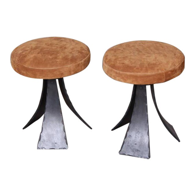 Pair of Forged Steel Stools Designed by John Baldasare For Sale