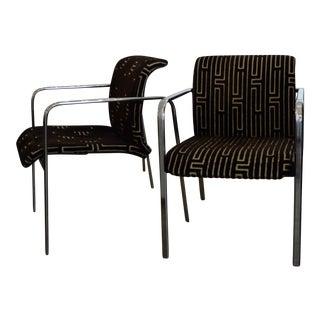Pr Mid Century Modern Peter Protzman for Herman Miller Chrome & Velvet Armchairs
