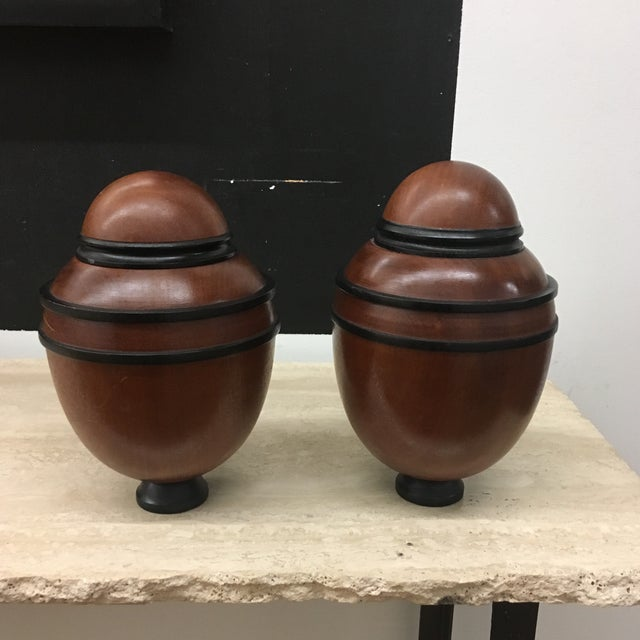 Urns - Turned Wooden English Urns - a Pair For Sale - Image 9 of 9