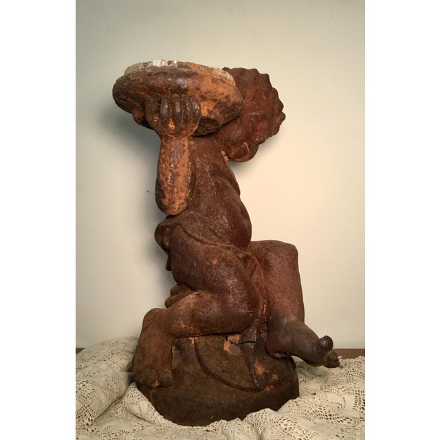 19th Century 19th Century Victorian Cast Iron Cherub // Statue / Planter / For Sale - Image 5 of 13