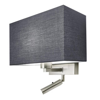 Combination Wall Light With Led Reading Light in Brushed Nickel For Sale