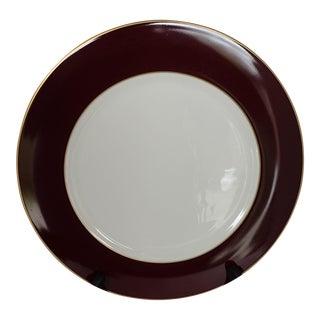 Elegant Burgundy & Gold White Charger/ Dinner Plate For Sale