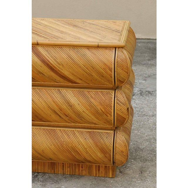 1980s Magnificent Restored Bullnose Nine-Drawer Chest in Bamboo For Sale - Image 5 of 11
