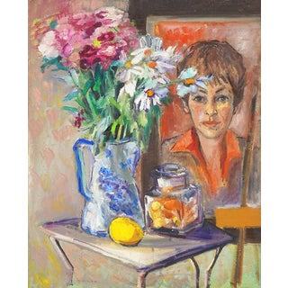 Marjorie Hyman Portrait of the Artist and Still Life 1969 Circa For Sale