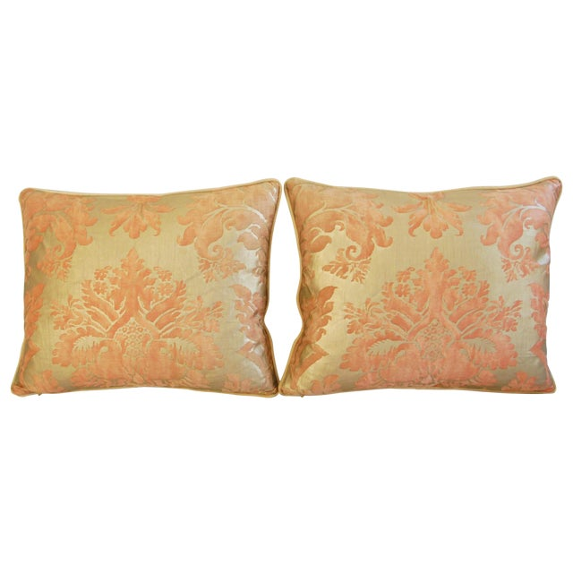Italian Fortuny Glicine Gold Pillows - A Pair - Image 1 of 11