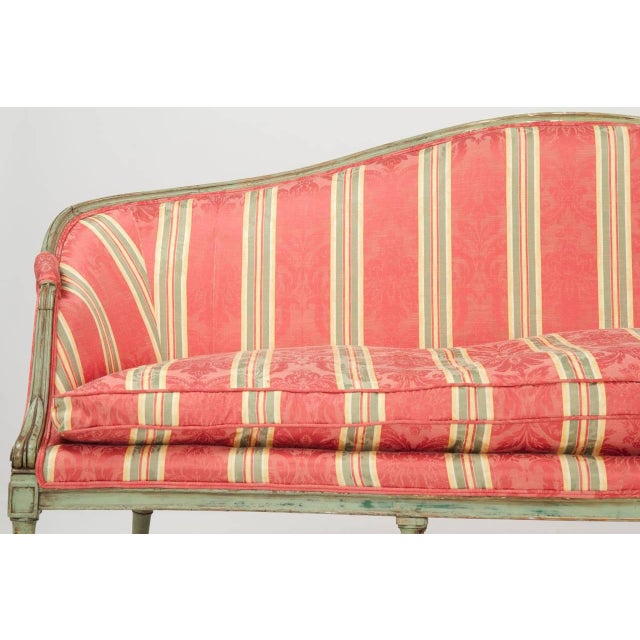 18th Century French Louis XVI Period Antique Green Painted Sofa Canapé Settee, 18th Century For Sale - Image 5 of 10