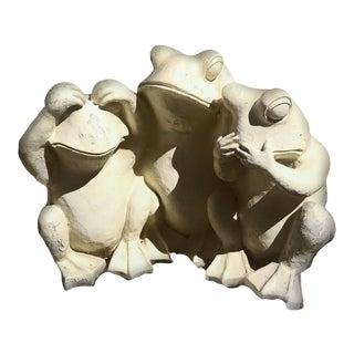 XL Trio Cast Stone See Hear Speak No Evil Garden Toad Statue For Sale