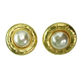 Huge 1980s Karl Lagerfeld Logo Faux Pearl Earrings For Sale