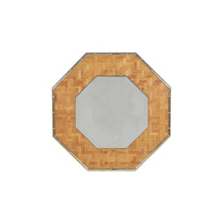 Brass and Bamboo Octagonal Mirror For Sale