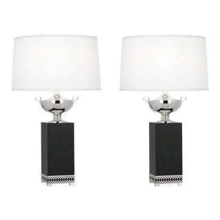 Regency Estate Robert Abbey Williamsburg Tucker Chrome and Ebony Wood Lamps - a Pair (2) For Sale