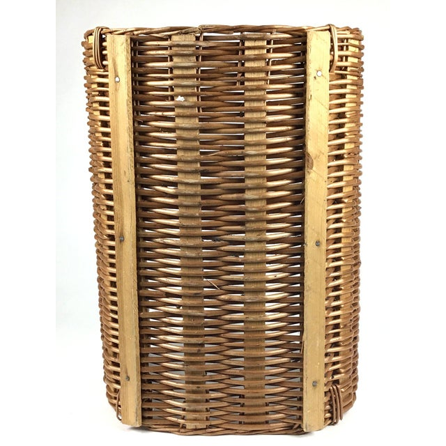 Vintage Wicker Log Basket & Magazine Rack For Sale - Image 12 of 13