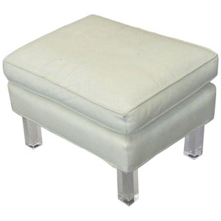 Springer Era 1970s White Leather Ottoman on Lucite Legs For Sale