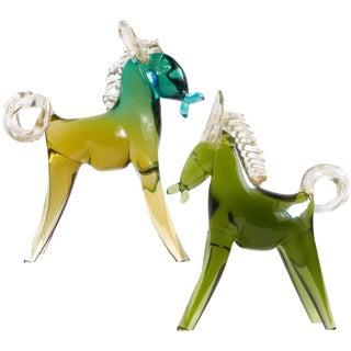Alfredo Barbini Murano Sommerso Green Gold Italian Art Glass Horse Pony Set For Sale