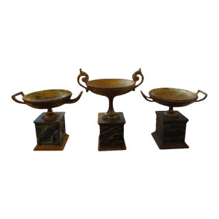 1920's Italian Neoclassical Style Carved Giltwood Urns-Set of 3 For Sale