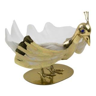Italian Gabriella Binazzi 1970s Giant Seashell Gilt Metal Swan Bowl Sculpture For Sale