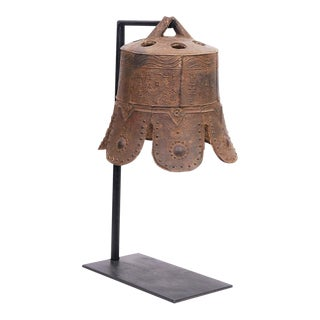 Antique Chinese Qing Dynasty Iron Temple Bell With Stand For Sale