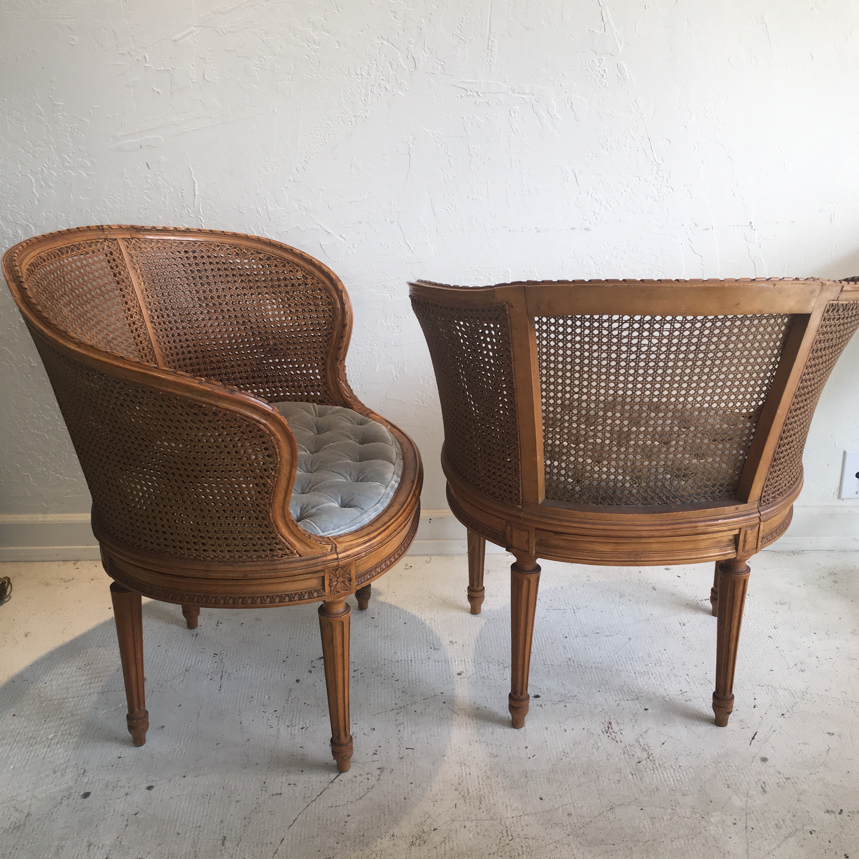 Louis XVI Style Cane Barrel Chairs  A Pair   Image 3 Of 6