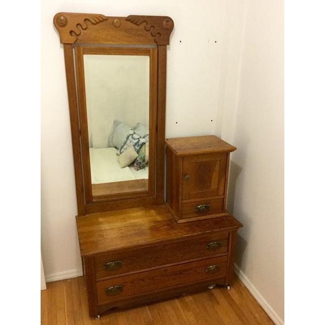 Antique Carved Oak Dresser with Mirror - Image 3 of 4
