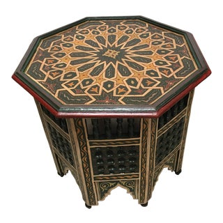 Moroccan Hand-Painted Dark Green Octagonal Side Table For Sale