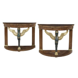 Pair of Empire-Style Walnut Demi-Lune Side Tables For Sale