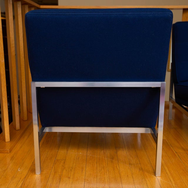 Mid-Century Modern Pair of Florence Knoll Parallel Bar Slipper Chairs For Sale - Image 3 of 8