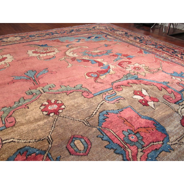 Blue Antique Persian Mahal Carpet For Sale - Image 8 of 9