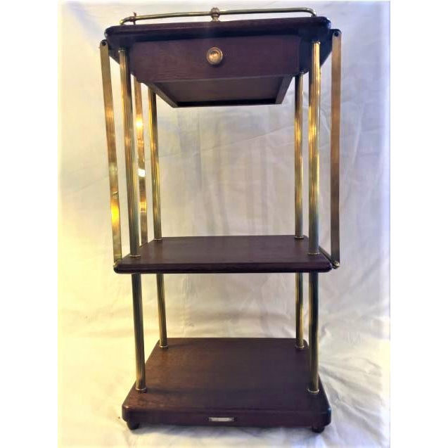 Metal Kirby, Beard & Co. English Mahogany and Brass Cakestand For Sale - Image 7 of 7