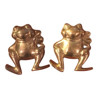 Brass Frog Figure Wall Hangings- A Pair For Sale