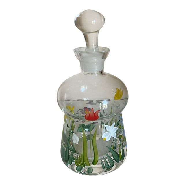 Vintage Hand Painted Crystal Perfume Bottle With Stopper For Sale