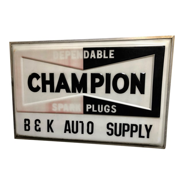 Vintage Everbrite Industrial Metal-Framed Double-Sided Champion Auto Supply Service Sign For Sale