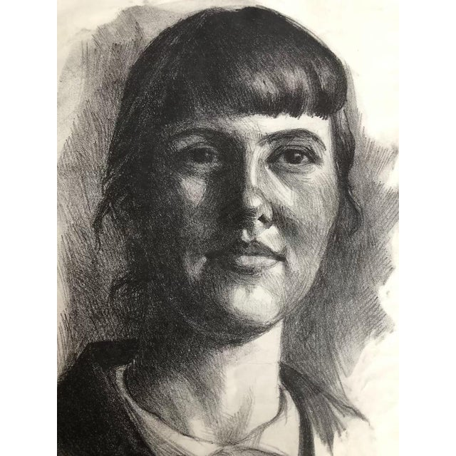 Mid 20th Century Compressed Charcoal Portrait Drawing For Sale