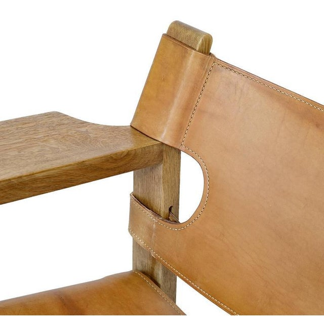 """Brown Børge Mogensen """"Spanish"""" Chair For Sale - Image 8 of 10"""