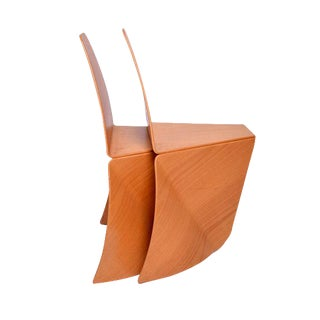 Pair of Sculptural Bent Plywood Modern Blonde Chairs For Sale