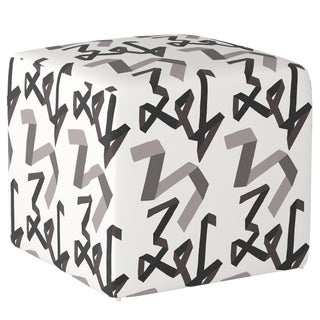 Cube Ottoman in Black Ribbon by Angela Chrusciaki Blehm for Chairish For Sale