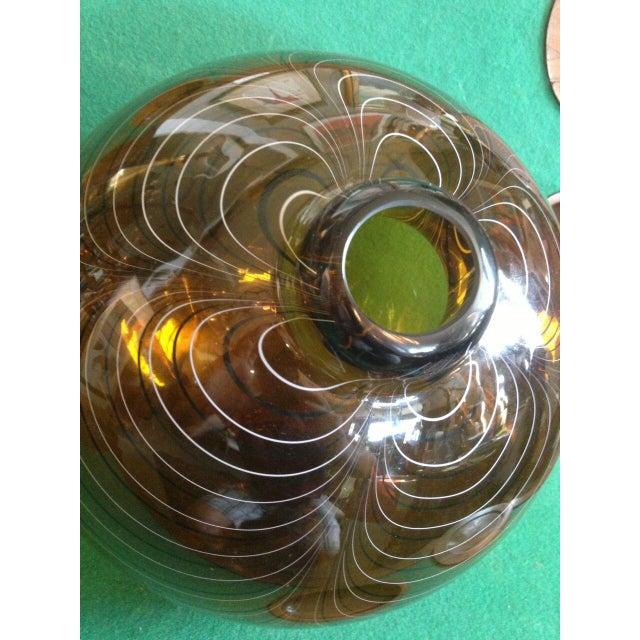 Glass 2004 Large Italian Alberto Dona Murano Hand Blown Swirled Art Glass Bottle Vase For Sale - Image 7 of 13