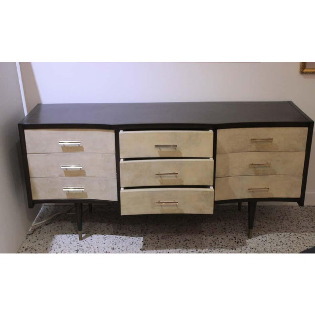Gio Ponti Midcentury Style Chest of Drawers With Goatskin Parchment For Sale - Image 9 of 12