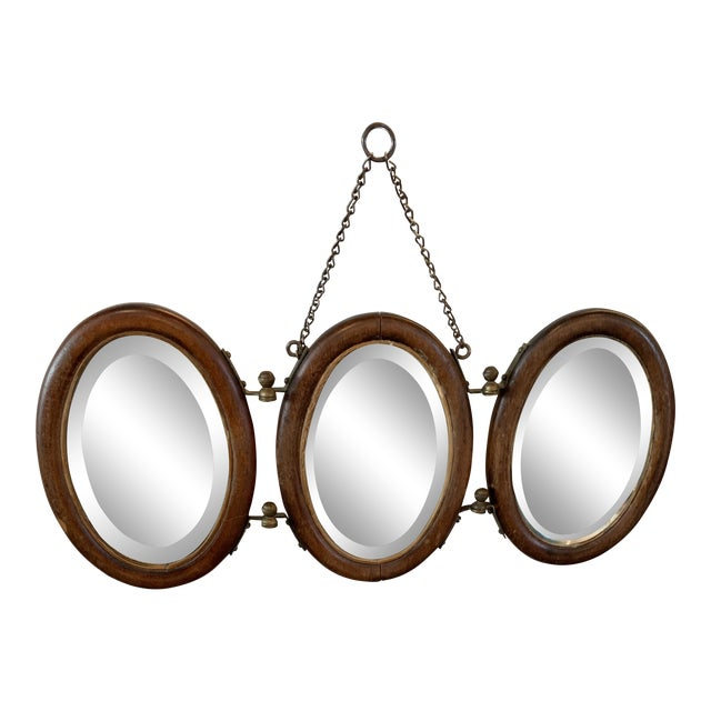 Trifold Wooden Hanging Mirror For Sale