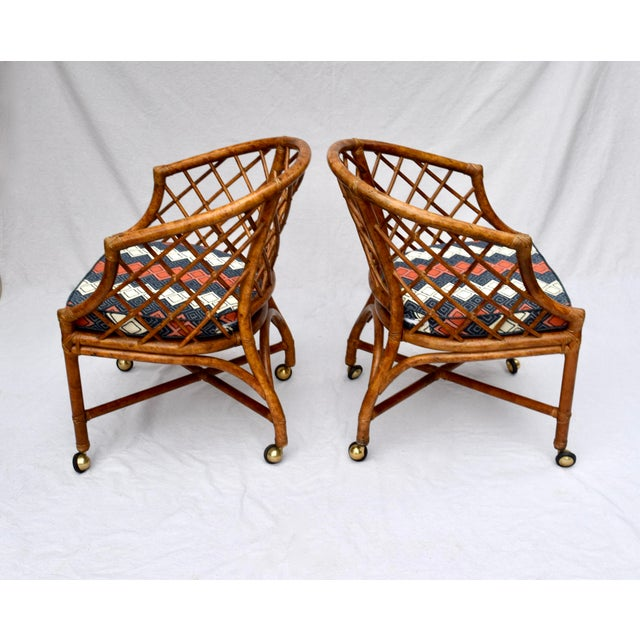Chestnut Chinoiserie Chinese Chippendale Rattan Barrel Chairs on Casters For Sale - Image 8 of 13