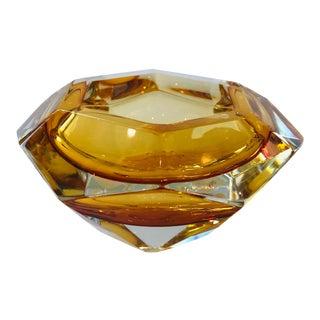 21st Century Alessandro Mandruzzato Amber Diamanté Dish For Sale