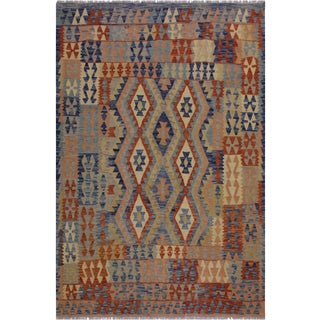Kilim Erick Hand-Woven Wool Rug -5′2″ × 6′6″ For Sale