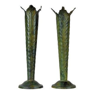 Vintage Art Deco Style Conical Bronze Vases - A Pair