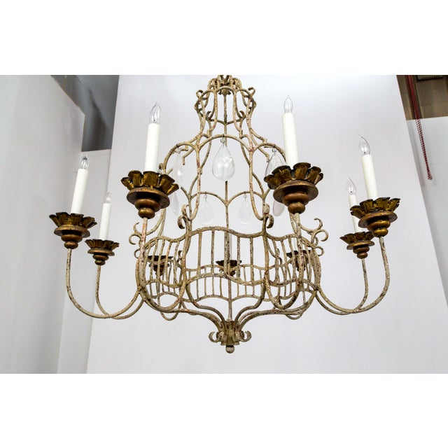 Belle Epoque Style Tan Painted Birdcage Chandelier With Rock Crystals For Sale - Image 9 of 13