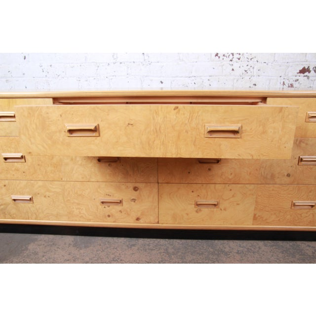 1980s Milo Baughman Style Burl Wood Long Dresser or Credenza by Henredon For Sale - Image 5 of 13