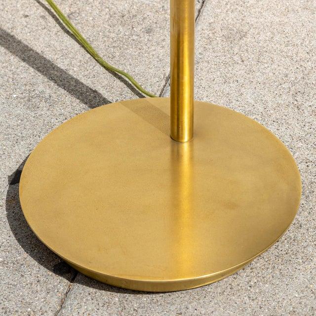 Metal Vintage Brushed Brass Pharmacy Floor Lamp For Sale - Image 7 of 8