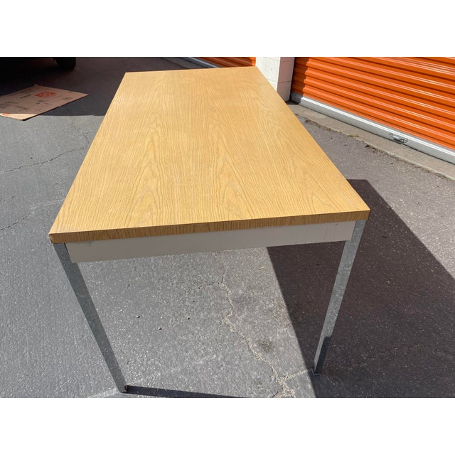 1980s Vintage Steelcase Metal Writing Desk For Sale - Image 9 of 13