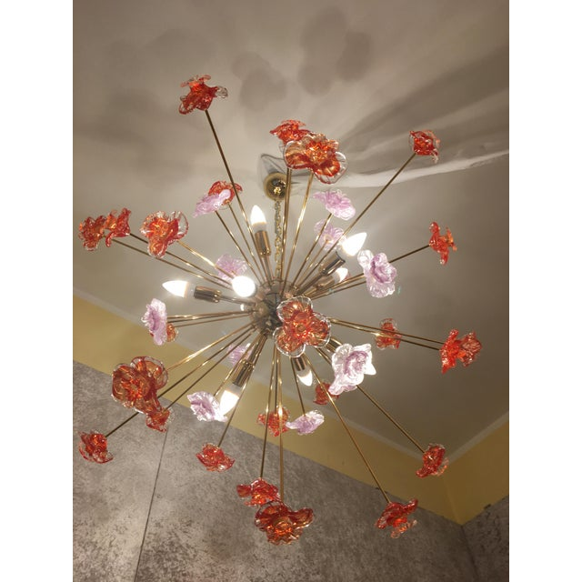 """Metal frame gold 24 karat Flowers murano glass red and transparent and gold diameter 95-100 cm = 37.4 """" - 39,3"""" used like..."""