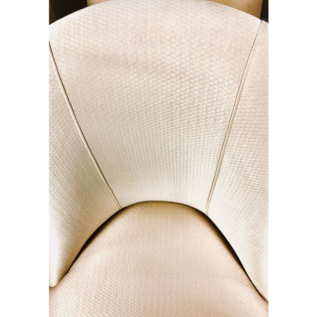 Contemporary Champagne Cream Upholstered Dining Chairs - Set of 3 For Sale - Image 4 of 10
