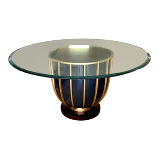 Jose Leite De Castro Macassar Ebony, Black and Brass Round Glass Top Dining Table For Sale