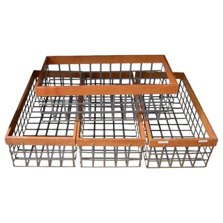 Set of 4 Bins Baskets of Steel and Wood; Several Vintage Sets Available For Sale