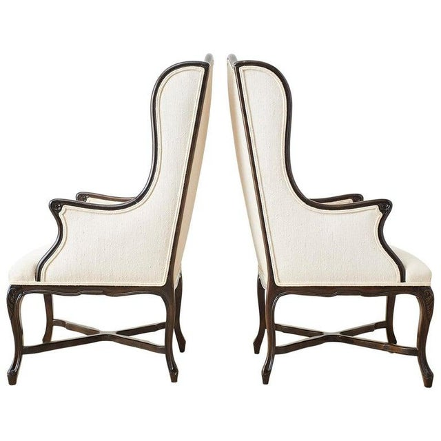 French Louis XV Style Carved Wing Chairs - a Pair For Sale - Image 13 of 13